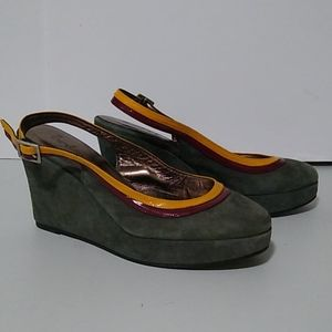 Boden Sling-back Wedge Shoes 8.5 Green Suede